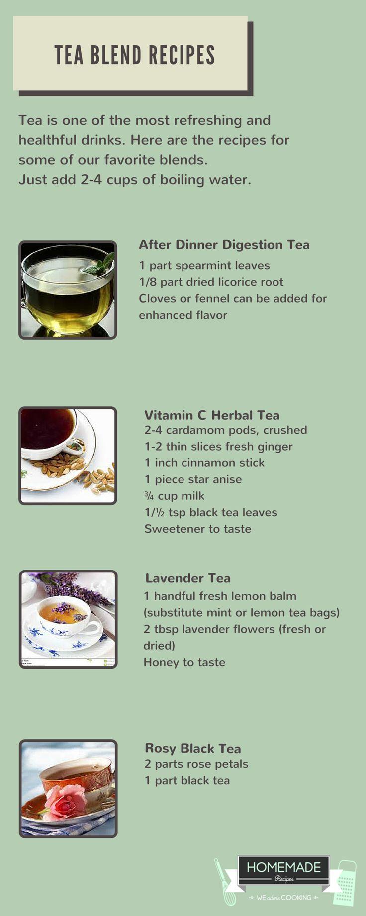Digestion Tea, Vitamin C Tea, Lavender Tea & Rose Black Tea Blend Recipes by Homemade Recipes