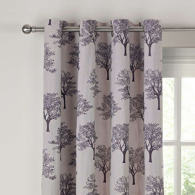 John Lewis Oakley Trees Eyelet Lined Curtains Black