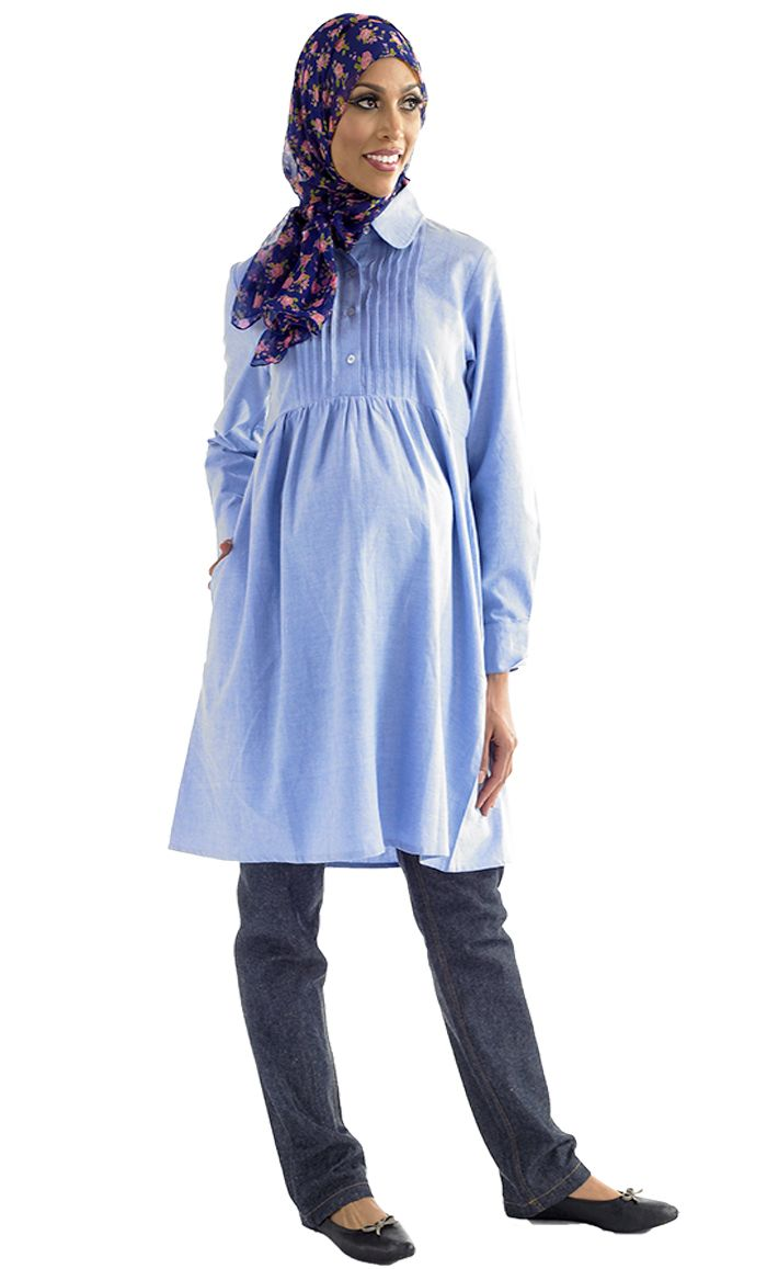 Soft and comfortable maternity kurti, pleats around mid chest area and buttons down for ease and convenience with nursing. Fabric 100% Cotton Chambray