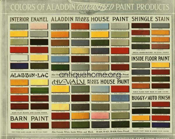 Historic Bungalow Colors ~ Vintage Palette, 1910 1920 Source: Aladdin  Homecraft Marketplace,