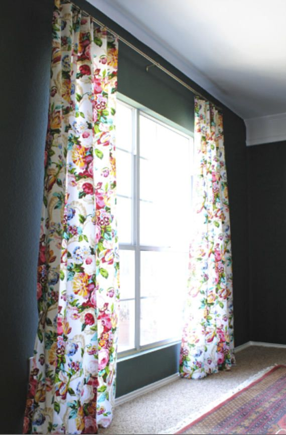 f59581e440b Floral curtains boho flower drapes curtains custom extra long curtain panels  pleated grommet clip ri