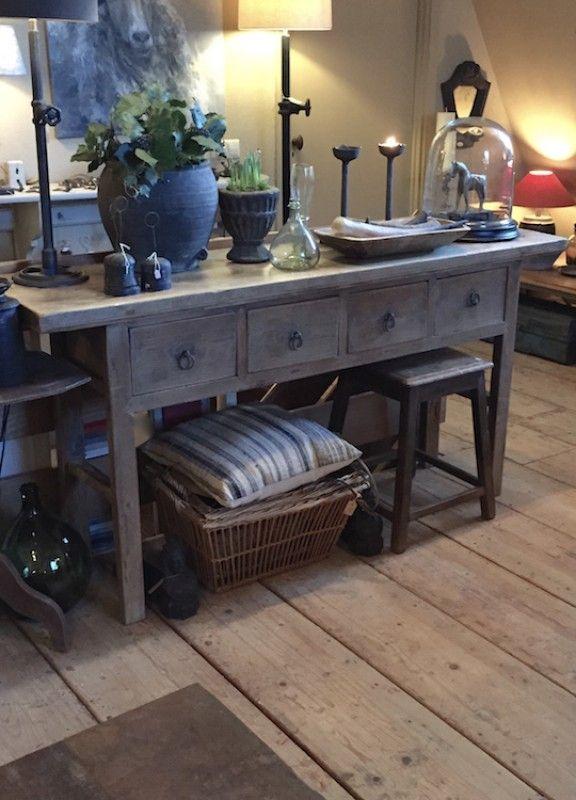 Oude wandtafel 4 laden - tafels