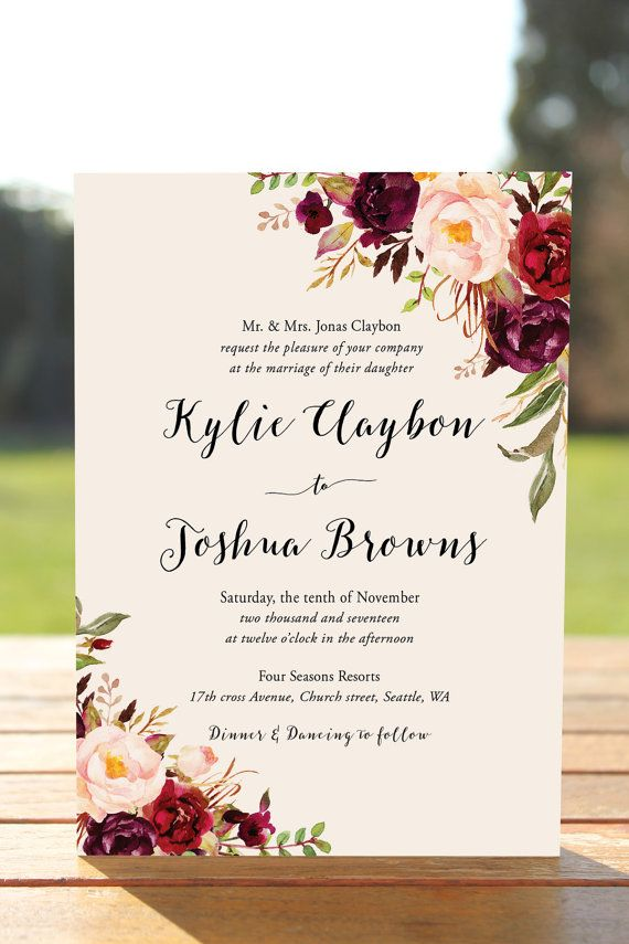 free wedding invitation templates country theme%0A Bohemian Wedding Invitation Suite Fall Wedding by InkAndVeil