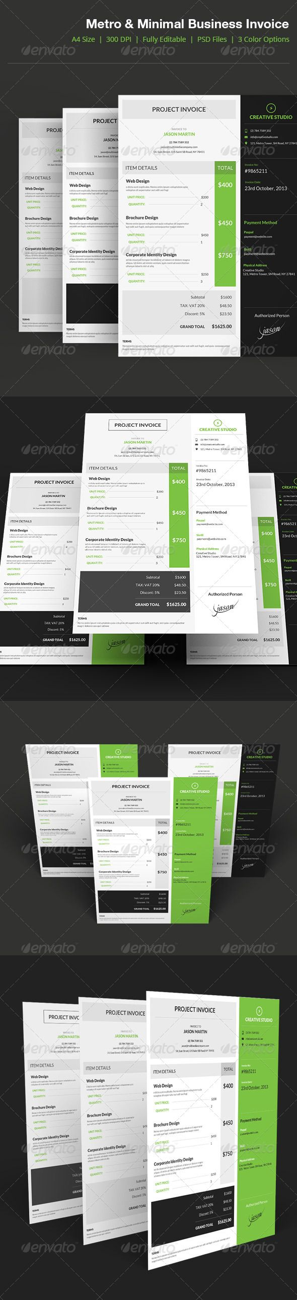 Metro Style Business Invoice - 04 by bouncy Metro Style Flat Business Invoice Features A4 Size(210mm x 297mm with bleed) 300 DPI CMYK Print Ready! Full Editable, Layeredyou c