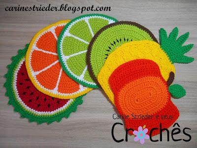Carine Strieder e seus Crochês: Descanso de Panela Frutas
