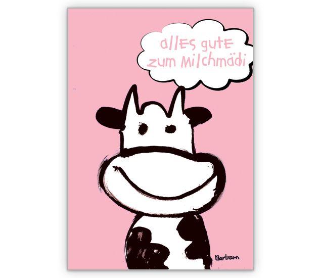 Glückwunschkarte zum Baby: Alles Gute zum Milchmädi - http://www.1agrusskarten.de/shop/gluckwunschkarte-zum-baby-alles-gute-zum-milchmadi/    00015_0_923, Baby, Comic, Geburt, Grußkarte, Klappkarte, Kuh, Milch, Taufe00015_0_923, Baby, Comic, Geburt, Grußkarte, Klappkarte, Kuh, Milch, Taufe