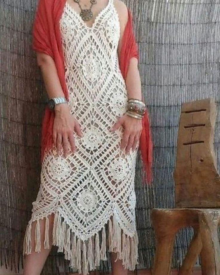 Crochet boho granny squares dress by  Bo-M, dress it up or dress it down, you ca…