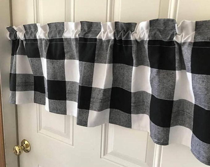 Black /& Gray Buffalo Checked Curtains /& Valances