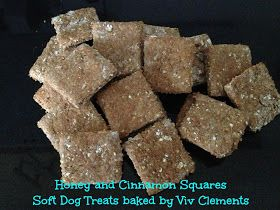 Dog Treat Recipe Honey Cinnamon Squares *** Ingredients *** 1 cup whole wheat flour, 1/2 cup rolled oats, 2 teaspoons cinnamon, 2 tablespoons honey, 1 egg  *** Directions ***  Preheat oven to 350 degrees F. Mix the ingredients together to form a dough. Roll out the dough but not too thin. Cut into squares with a square cookie cutter. Bake for 15 minutes ~