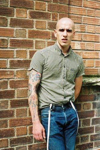 vintage street style photography > Skinhead with tattoos / Ben Sherman shirt, braces / Skinheads / #Oi! /