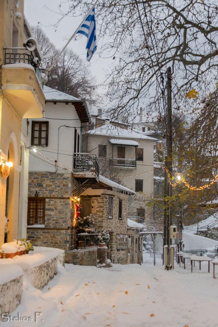 Agios Lavrentios in snow, Pelion, Greece