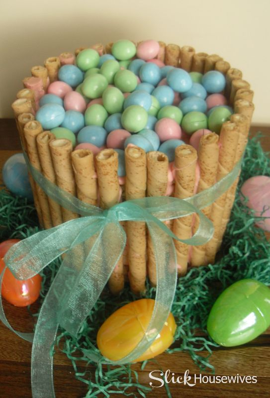 Easy Easter Basket Cake Recipe and Tutorial  I know this Cake looks intimidating but it's not! You won't believe what the middle is made of!!!  http://slickhousewives.com/easy-easter-basket-cake-recipe/