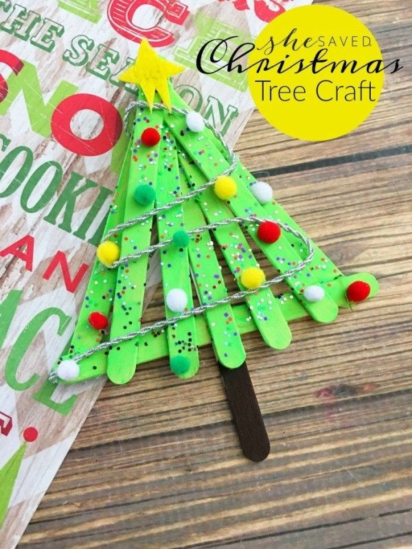 Simple Popsicle Christmas Tree Craft Project - She Saved Christmas