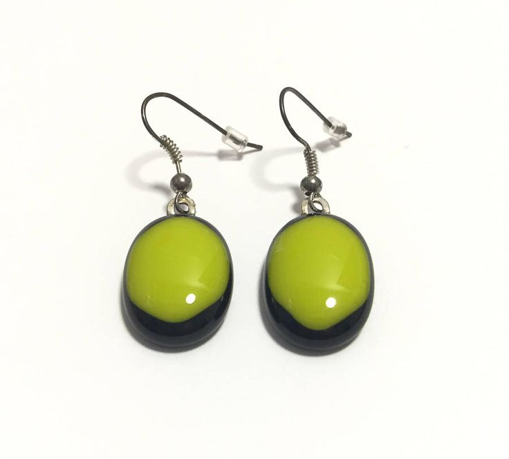 Lime green on black fused glass dangling earrings, oval danglers, bright lime round opaque fused glass earrings by Spallek Glass Art by SpalleksGlassArt on Etsy https://www.etsy.com/listing/476341816/lime-green-on-black-fused-glass-dangling