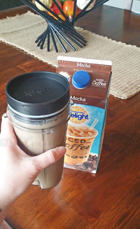 12oz iced coffee, 1 frozen banana, 1 scoop vanilla or chocolate protein powder. Blend together in the Ninja.
