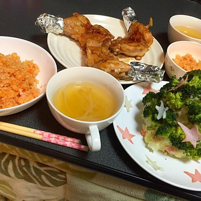 Xmasディナー - 4件のもぐもぐ - チキンライス・ローストチキン・ポテサラブロッコリーツリー・コンソメスープ by MaMayaaamada