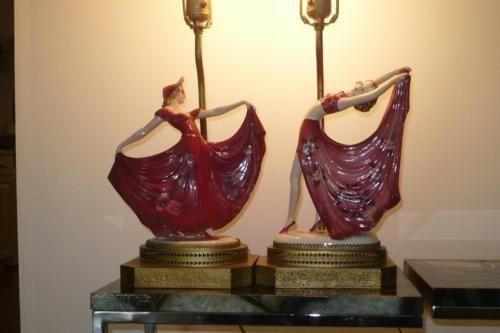 2 Vintage LAMP ART DECO GOLDSCHEIDER Style Porcelain Signed Lady DANCER FIGURINE