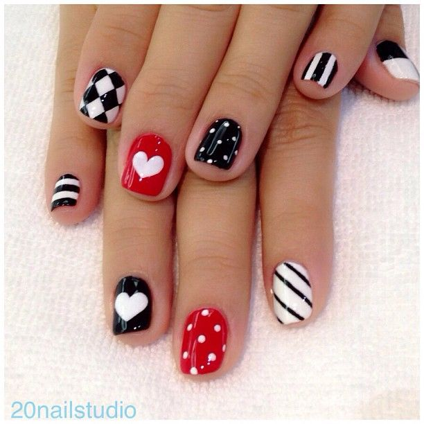 Black, white, red, multi-stripes, polka dots, harlequin, half-half, hearts free hand nail art