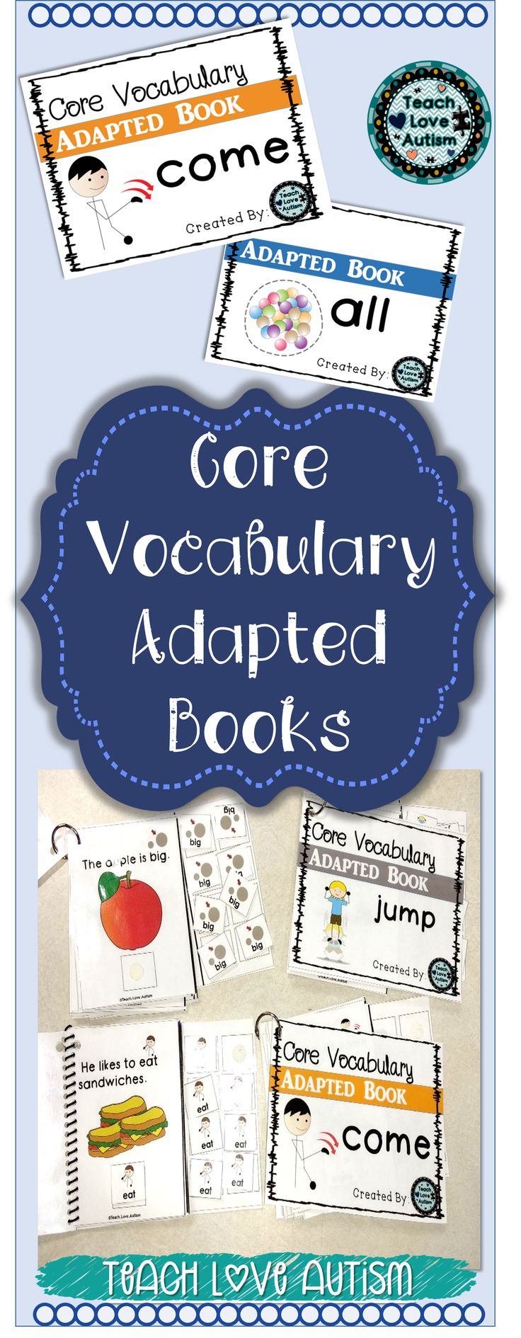 This is a completed set of books. There are adapted books for 26 core vocabulary words (Each book is about 10 pages long). These books can be read to your students in order to model the language and have them utilize with a core board, communication device, or other forms of AAC. There are interactive pieces of the core vocabulary words that you or a student can manipulate as the story is read.