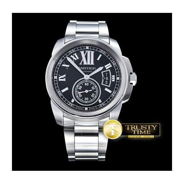 Replica Cartier Calibre de Cartier Black Dial Steel Watch W7100016