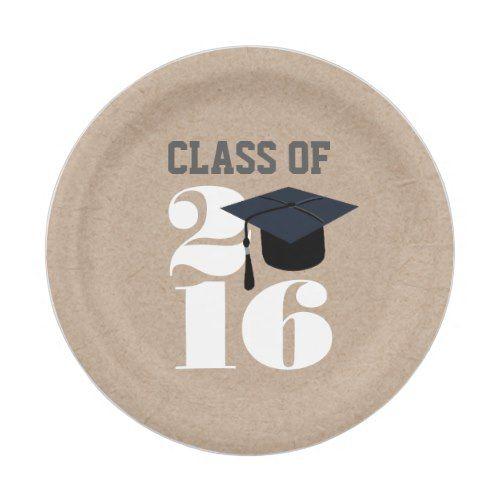 class of 2016 grad cap graduate paper plates rustic graduation