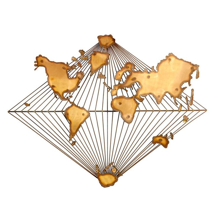 World #map wall sculpture... just looks bizarre! Maybe the brass melted in funny ways...