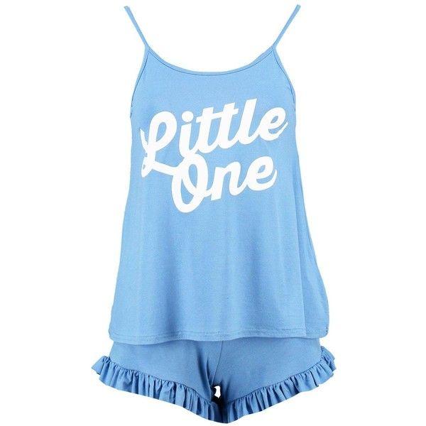 Boohoo Petite Petite Liana Frill Hem Short Pyjama Set ($20) ❤ liked on Polyvore featuring intimates, sleepwear, pajamas, petite loungewear, petite pajamas, petite sleepwear, short sleepwear and short pyjamas