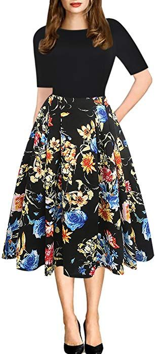 9bacb57824418 oxiuly Women's Vintage Patchwork Pockets Puffy Swing Casual Party Dress  OX165 (M, Black Floral) at Amazon Women's Clothing store: