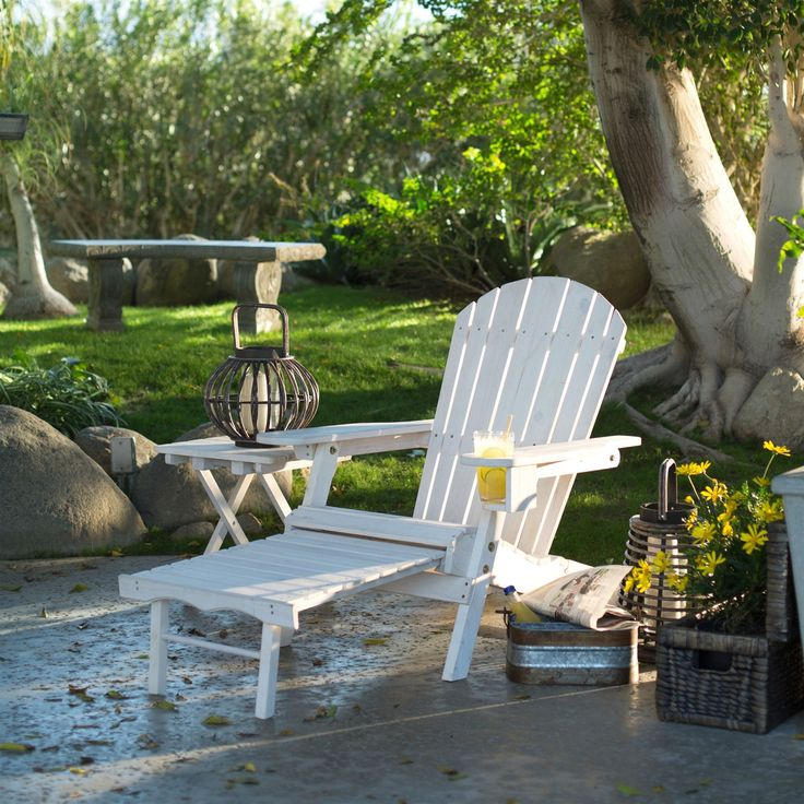 Great Adirondack Chair With Ottoman And Cup Holder In Whitewash Stained Fir Wood    Quality House