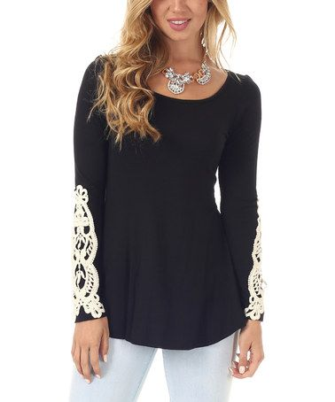 Absolutely digging this shirt    Look at this #zulilyfind! Black Crochet Boatneck Top by Pinkblush #zulilyfinds