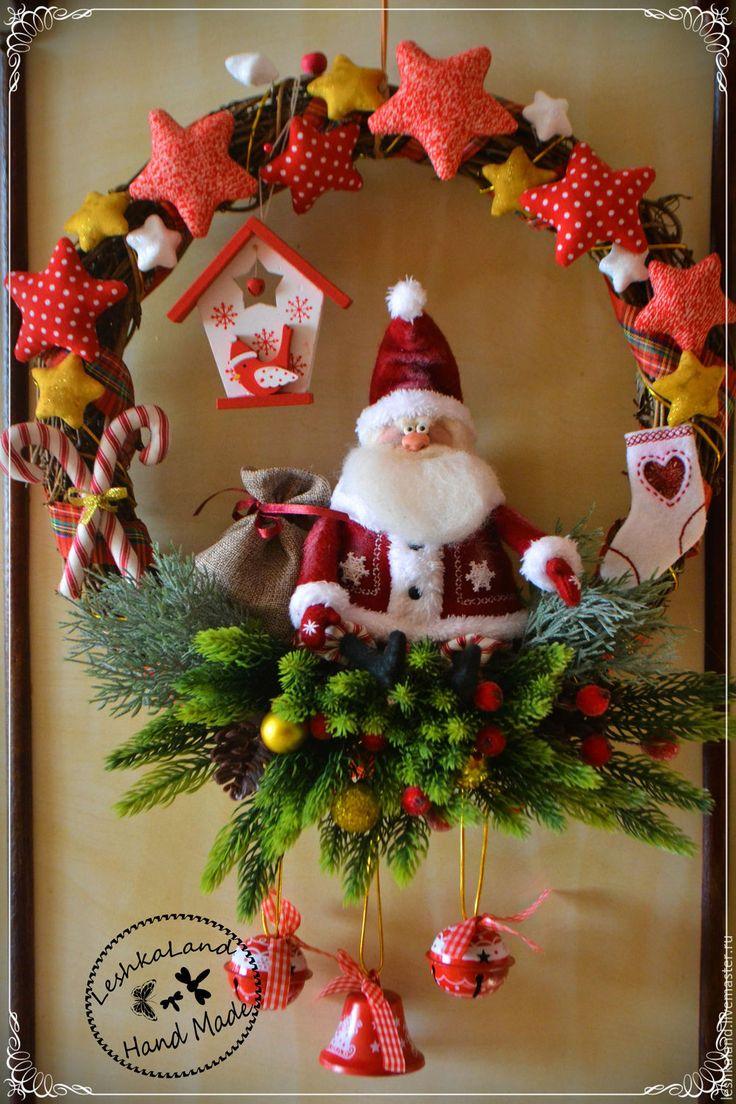 Купить Дедушка с бубенчиками - новый год 2015, дед мороз, венок на дверь, венок из лозы, елка