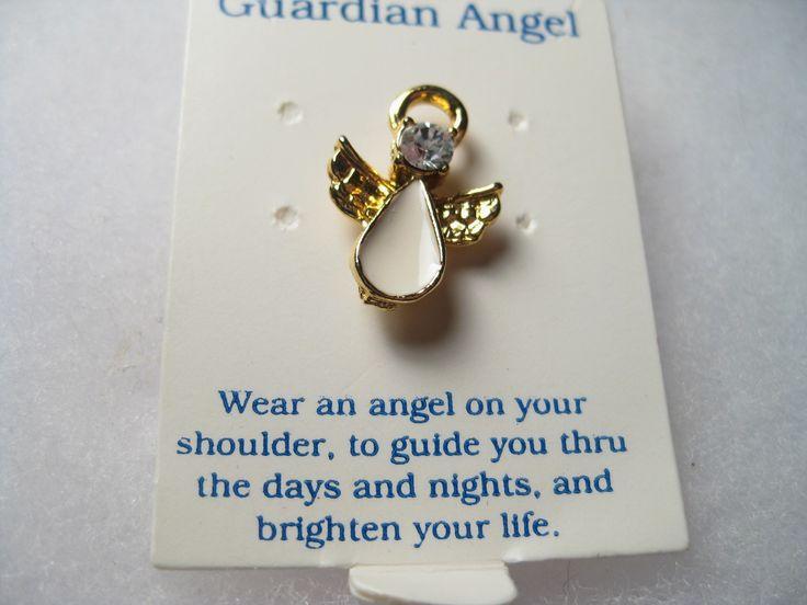 Guardian Angel, Blue Rhinestone, White Enameled, Goldtone Tack pin - New on Card, 1990s