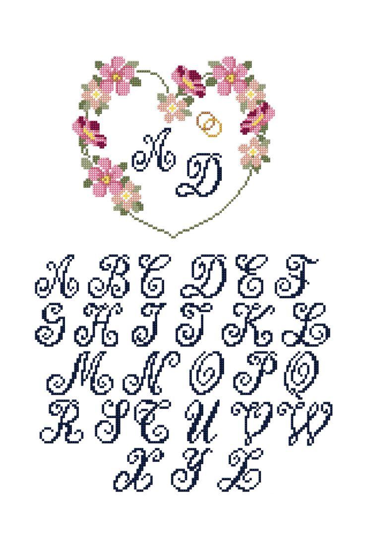 Couronne de fleurs de mariée personnalisée - Amour et coeur MOTIF GRATUIT POINT DE CROIX DMC