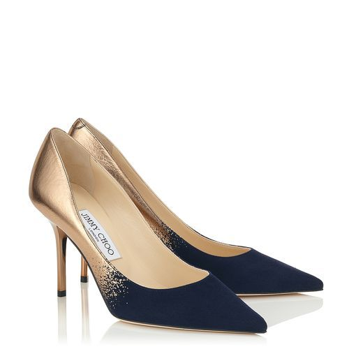 Jimmy Choo Nude Metallic Dégradé and Navy Suede Point Toe Pumps