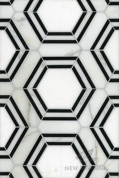 Impossibly chic black-and-white hex pattern by New Ravenna. It's called Pembroke, a water jet natural stone mosaic, in Thassos, Nero Marquina and Calacatta Tia honed.