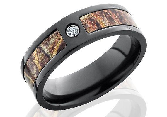 Diamond Black Zirconium Camo Wedding BandCamouflage7mm