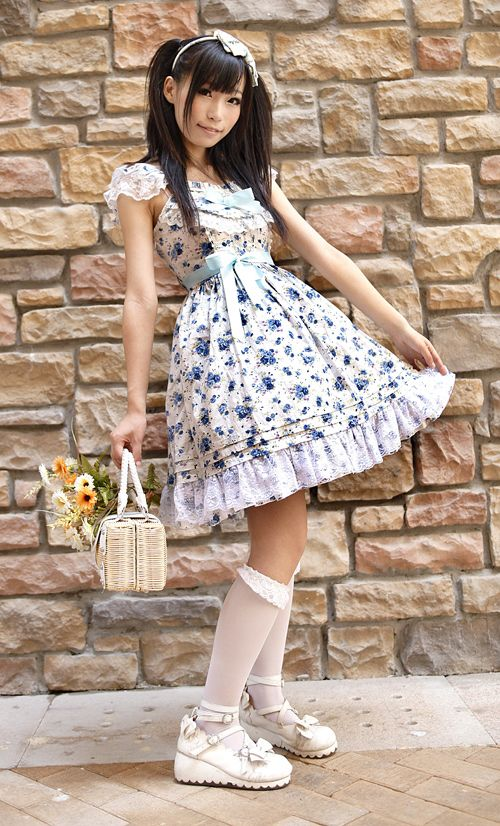 cotton with flowers printing Square bow Collar lolita dress, Lolita Dresses, #Lolita