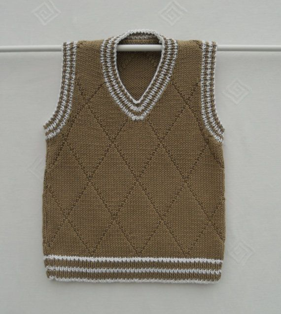Baby/toddler boy's tank top,vest,slipover, hand knitted in taupe cotton mix yarn age approx 1-2 years