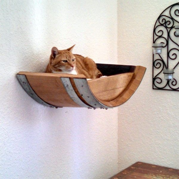 Authentic Wine Barrel Cat Wall Shelf -100% recycled
