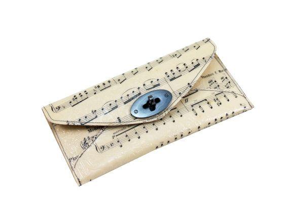 Sheet Music Wallet  Paper Envelope Wallet by CeeBeeRecycle on Etsy