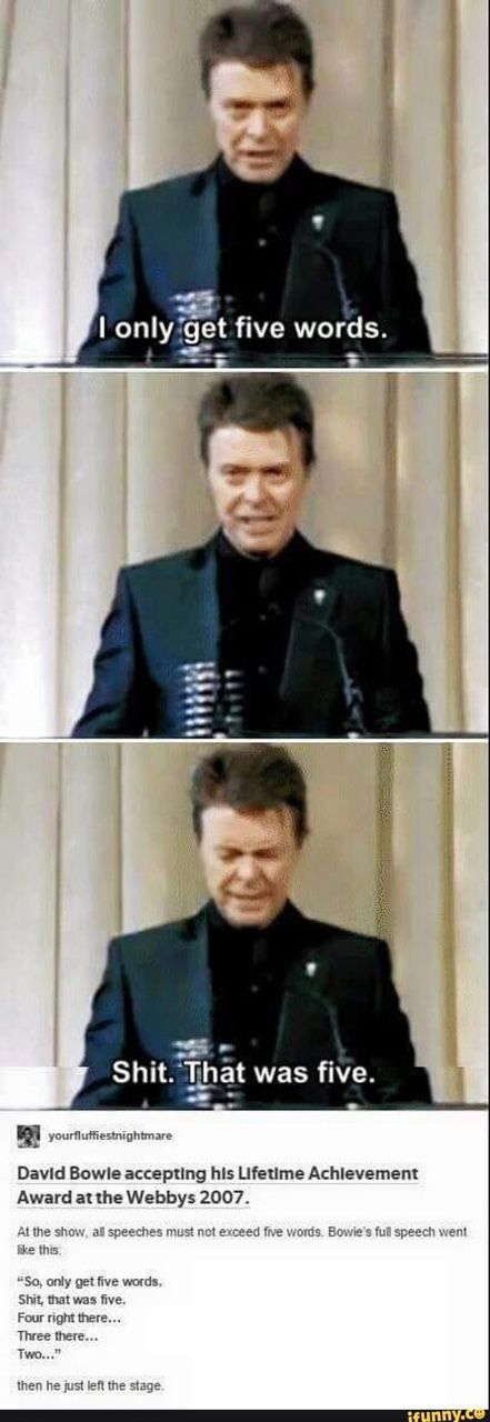Bowie's speech upon accepting his Lifetime Achievement Webby Award