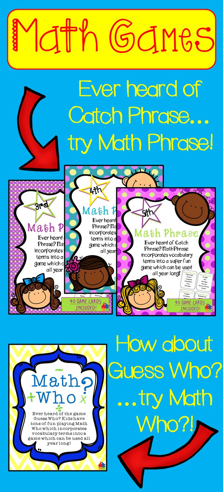 Check out these elementary math games! Ever heard of Catch Phrase and Guess Who?…
