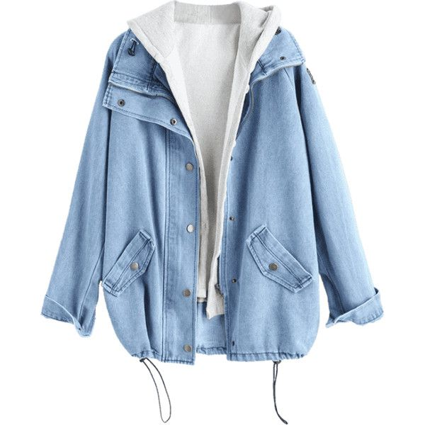 Button Up Denim Jacket And Hooded Vest ($28) ❤ liked on Polyvore featuring outerwear, vests, jackets, button down vest, hooded vest, light blue denim jacket, blue waistcoat and jean jacket