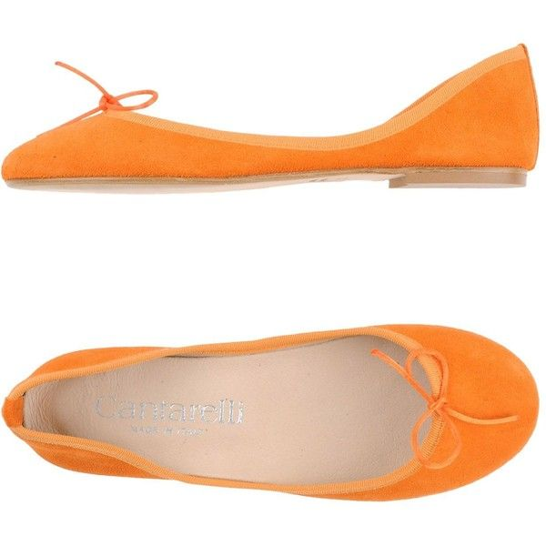 Cantarelli Ballet Flats (£78) ❤ liked on Polyvore featuring shoes, flats, orange, orange flat shoes, ballet pumps, bow flats, leather ballet flats and orange shoes