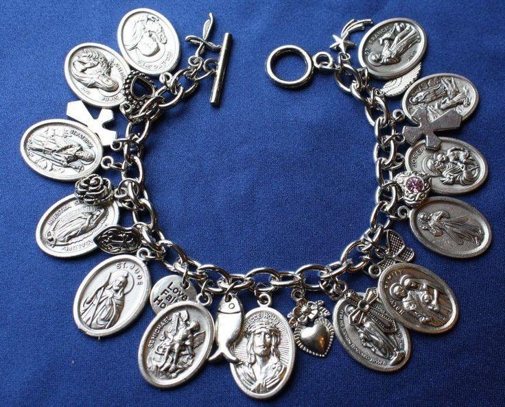 Religious Saint Medal Charm Bracelet (105a) St Michael, St Jude & MORE