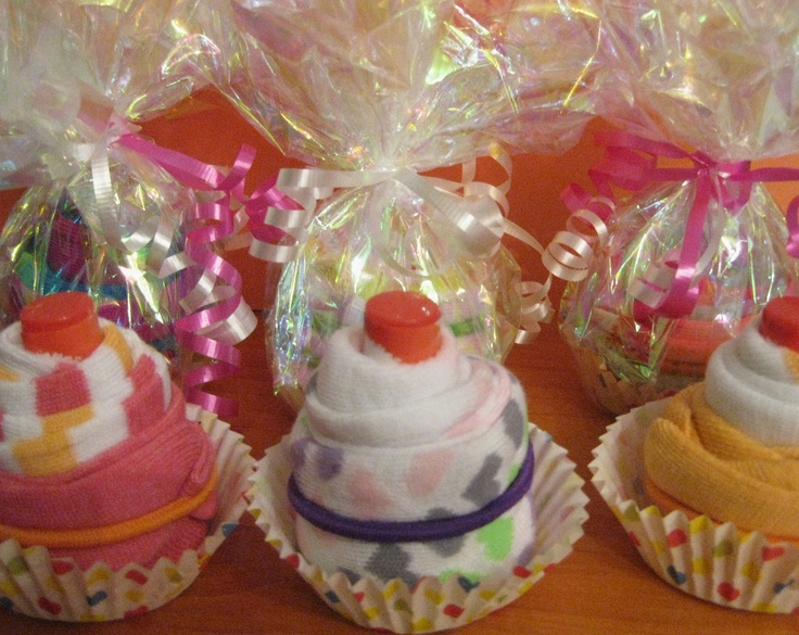 cupcake party favor- ankle socks, hair bands, and lip balm