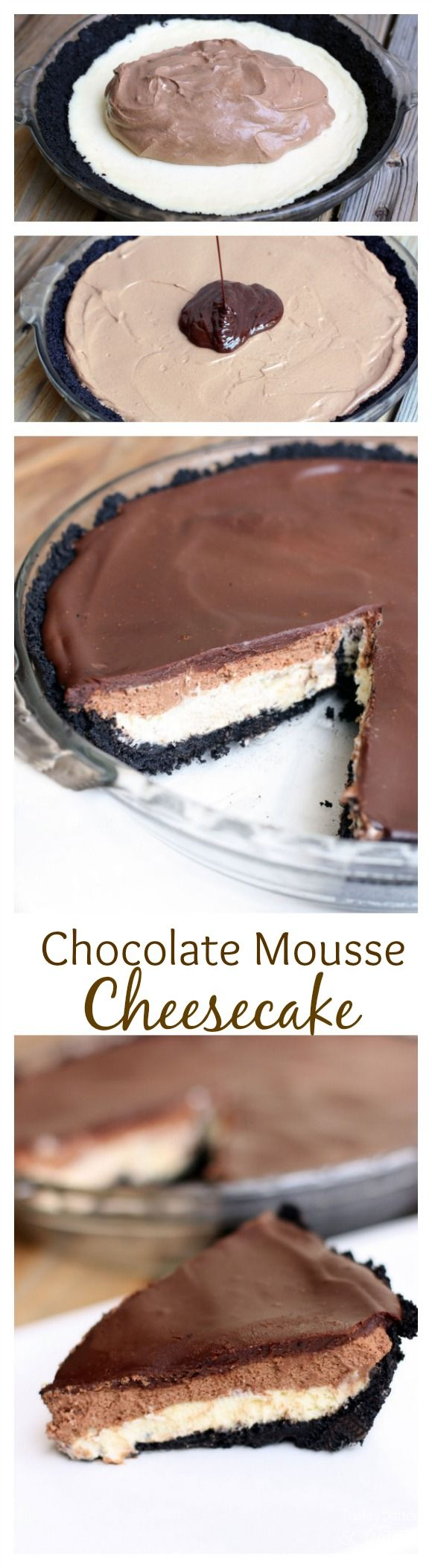 Chocolate Mousse Cheesecake is totally FOOL-PROOF and one of the best desserts EVER! Recipe on MyRecipeMagic.com