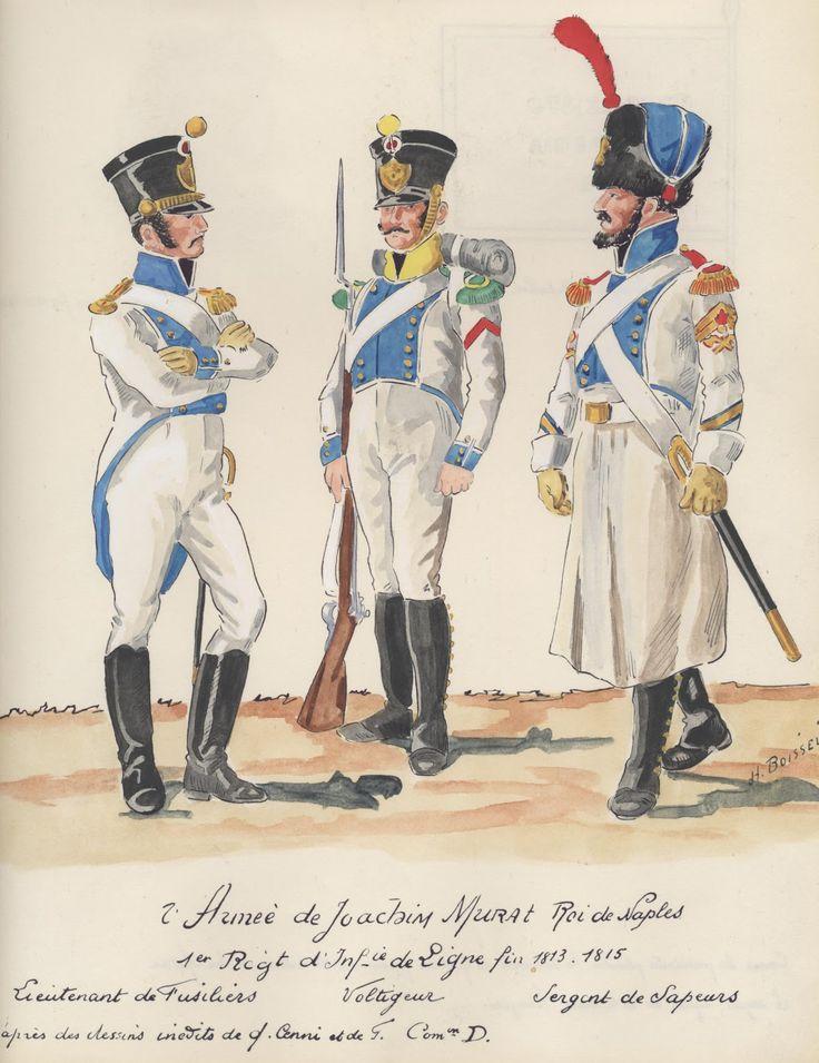Tenente, volteggiatore e sergente dei zappatori del 1 rgt. fanteria di linea del regno di Napoli