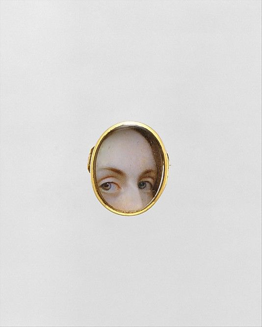Lover's Eyes Date: ca. 1840 Watercolor on ivory in gold locket: