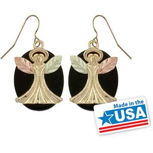 Black Hills Gold Jewelry by Coleman Co. Onyx 10kt and 12kt Black Hills Gold Angel Drop Earrings
